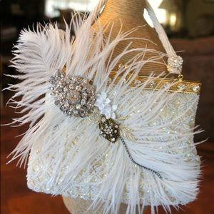 💍✨Cosmik Souls Up-Cycled White Vintage Beaded Bag